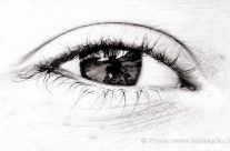 Auge und Hintergrund – Spiegelung in der Iris